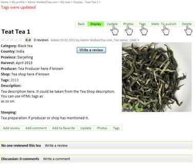 List my teas on WeRateTea.com