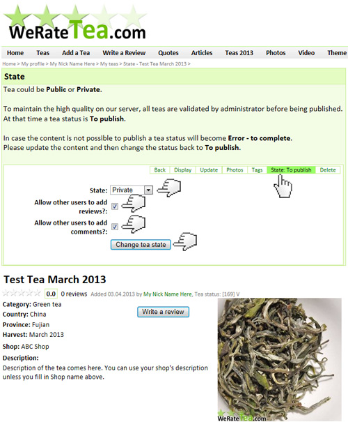 Public or Private tea catalogues on WeRateTea.com